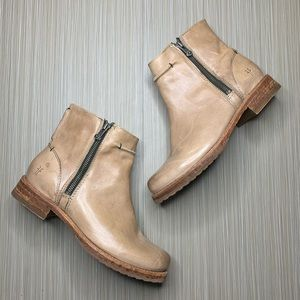 Frye Brown Leather Double Zipper Ankle Booties